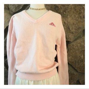 Vintage Pink Knit B Neck Sweater, Large